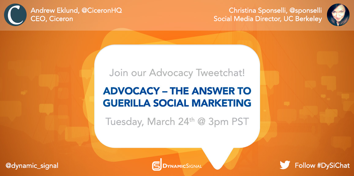 Upcoming Tweet Chat: Social Advocacy, the Answer to Guerilla Social Marketing