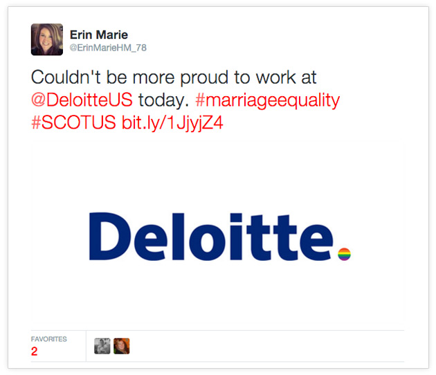 Deloitte supports marriage equality