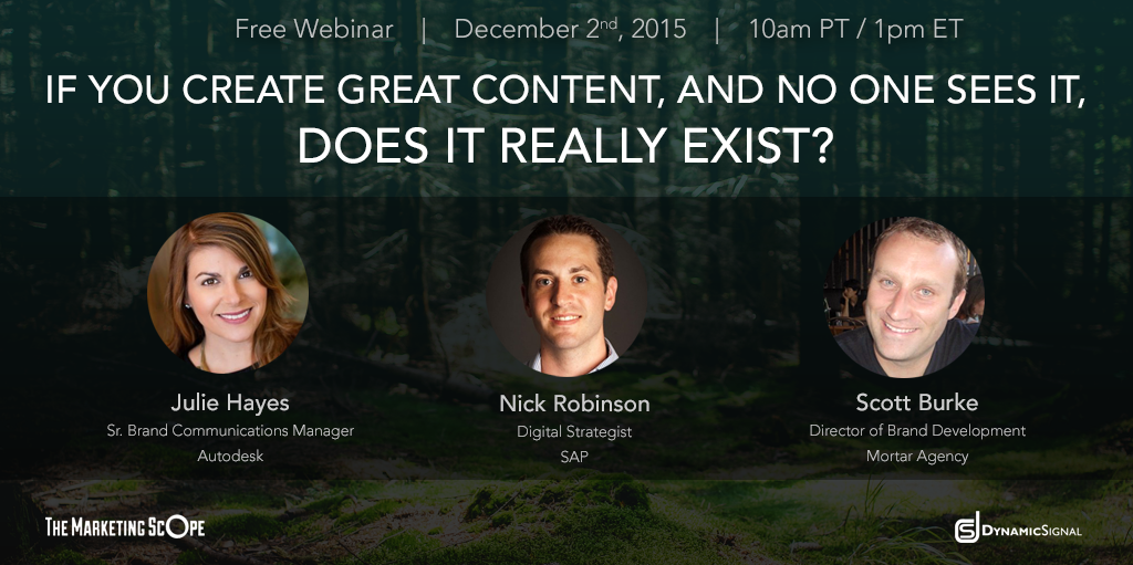 Upcoming Webinar If You Create Great Content and No One Sees It Does It Really Exist
