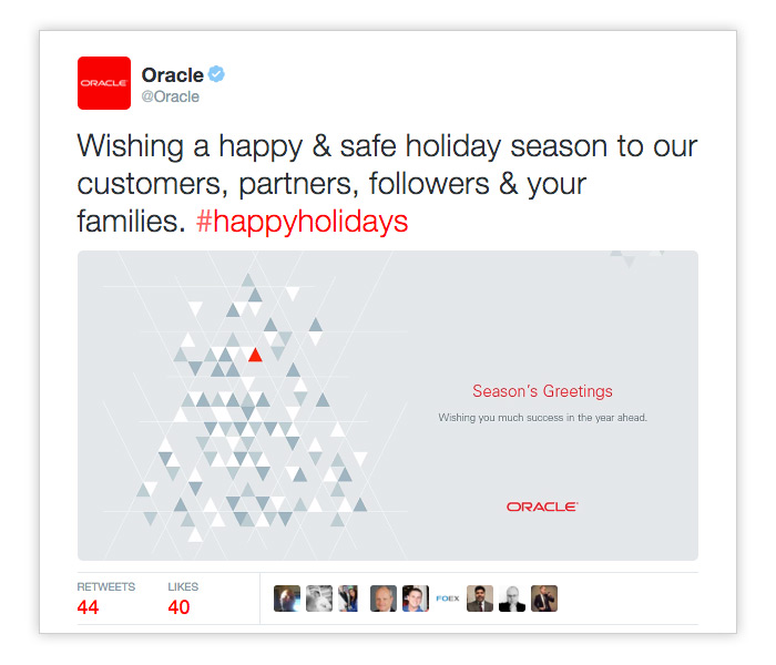 Oracle Holiday Tweet