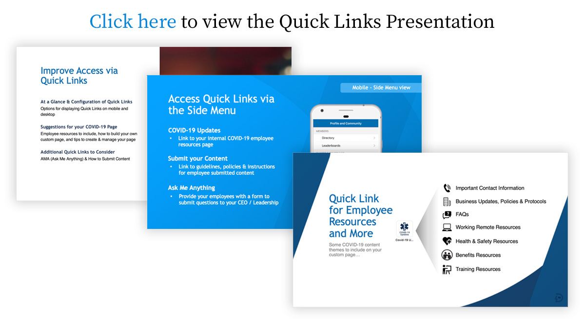 Quick Links Presentation for COVID-19
